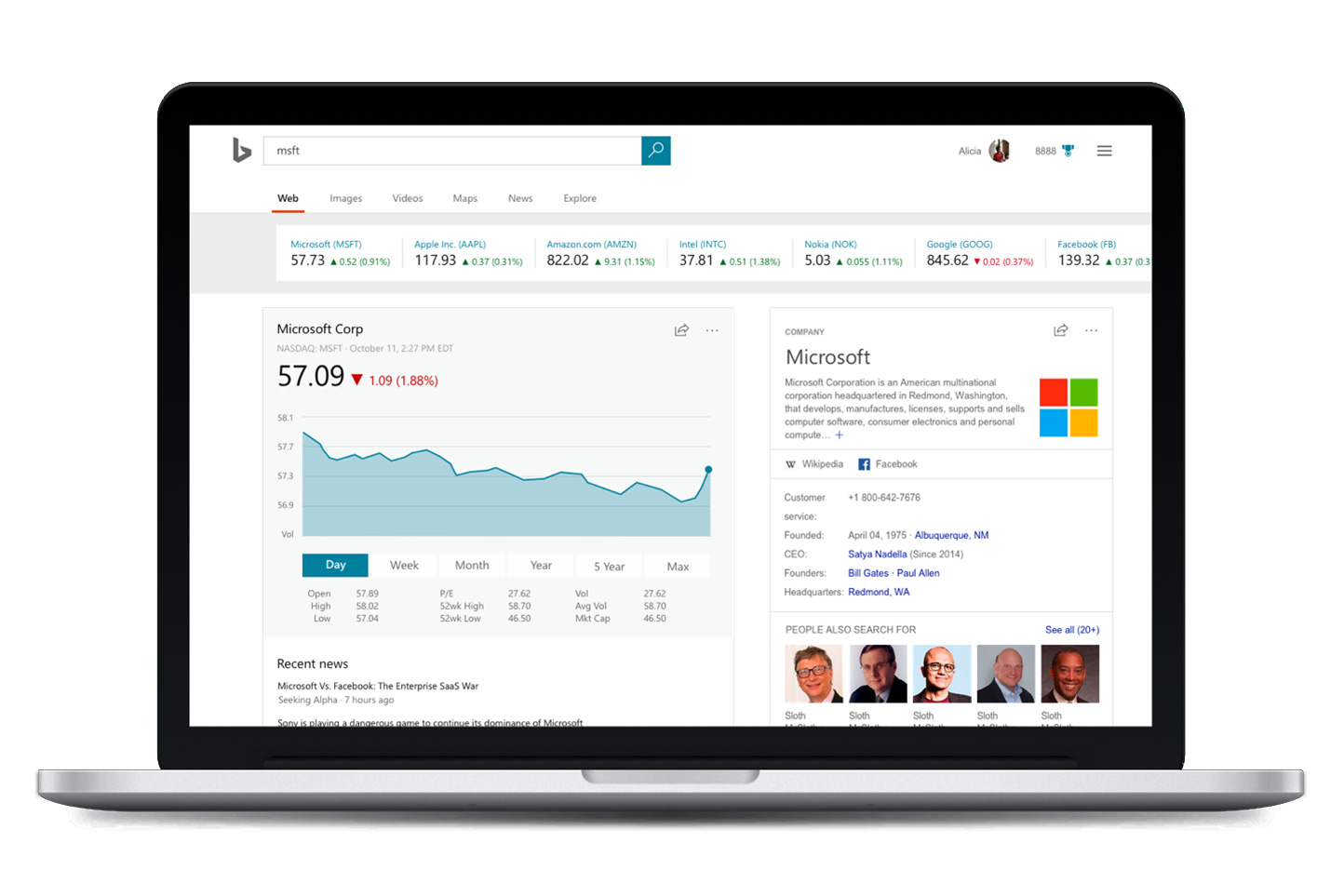 Bing Answers - Stocks Exploration